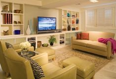decor, finish basement, famili room, dream, hous, shelv, basement idea, built, basements