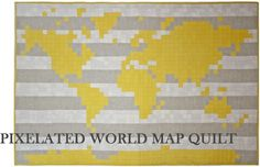 pixelated world map quilt @ www.yellowspool.com