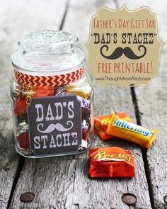 """Thoughts from Alice: Father's Day Gift Jar: """"Dad's Stache"""" Free Printable!"""