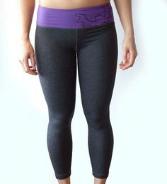 WOD Gear Purple & Grey Crop Pants Crossfit