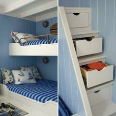 This boys' bunk mixes sky blue with beadboard, navy stripes, and marine-inspired wall fixtures for a nautical theme. | Photo: Tria Giovani | thisoldhouse.com tiny house plans, tiny houses