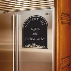 """Chalkboard Grocery List"" vinyl decal applied to the refrigerator. See more wall decals at www.lacybella.com"