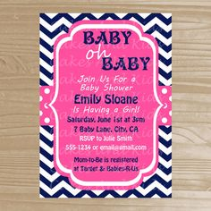 Baby Shower Invitation - Navy and Pink Girl Baby Shower Invitation - Printable Baby Shower Invite - Digital File