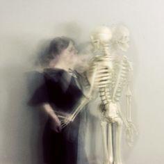 Fine Art Photography, Skeleton Portrait, The Dance,  Black and White, 5x5 Print, Figure Photograph, Surreal Portrait. $11.25, via Etsy.