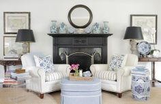 .lovely chair arrangement in front of fireplace
