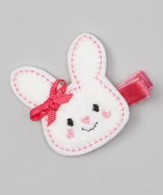 White & Red Bunny Felt Clip by Bubbly Bows #zulily #zulilyfinds
