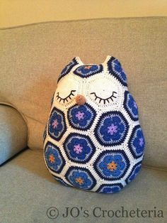 Maggie . Find this African Flower Owl  Pillow Crochet Pattern on Craftsy.com  http://www.craftsy.com/pattern/crocheting/home-decor/maggie-the-african-flower-owl-pillow/58034