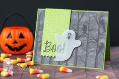handmade Halloween card from Lil' Inker Designs ... die cut ghost in velum ... gray night in the forest print paper ... green banner with BOO!