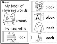Flip books to teach rhyming words and word families. Includes 45 different books and an extension activity to make this a perfect center!