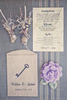 Wonderfully styled vintage key themed wedding stationery