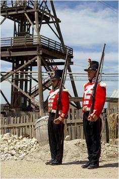 Costumed soldiers at historic Sovereign Hill, Ballarat, Victoria, Australia
