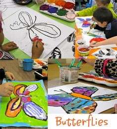 Kinder butterflies...draw with black oil pastel, paint with tempera