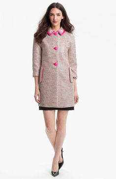 Kate Spade tweed coat with pink piping