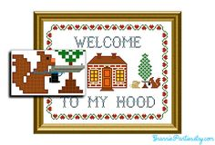 Squirrel! Welcome to my hood PDF counted cross stitch sampler pattern 8X10. $6.00, via Etsy.