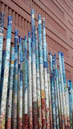 mosaic garden art, mosaics garden, pvc pipe, mosaic art