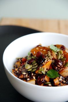 Superfood Salad with black rice, butternut squash, sweet potato, cranberries, sunflower and pumpkin seeds