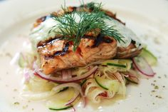 Grilled Salmon with  Pickled Fennel, cucumber, red onion salad - By Chef Raymond Reyes
