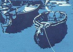 Mevagissey Boats Lino cut print