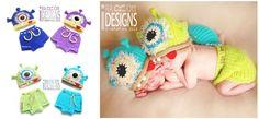crochet hat, monster hat, alien monster, halloween gift, diaper covers