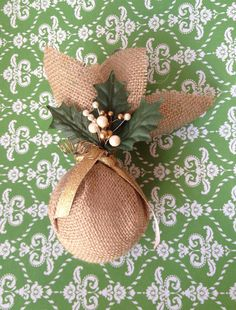 Burlap Christmas Ornament