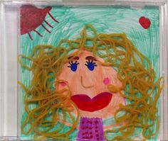 craft, mothers day, self portraits, paper, rubber bands, rubberband art, kids, cd case, art projects
