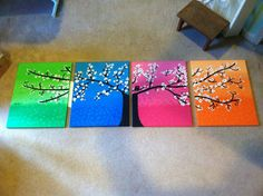 Four 4 Canvas Acrylic Tree Painting by ashleyshepard28 on Etsy, $100.00