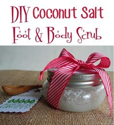 DIY Coconut-Salt Foot and Body Scrub! {such a fun mason jar gift idea!} #scrubs #masonjars  I would use olive oil or another type of oil instead of coconut oil. I would skip the vitamin E oil for another as well. I have read that vitamin E is not necessarily good for the skin. I would use almond or avocado oil instead of the E and get the full impact of a few vitamins in there.
