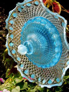 Garden Glass Flower Upcycled Dishes
