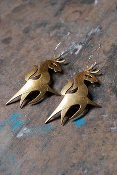 """beautiful """"folklore"""" cut sheet metal earrings // dollybirddesgin on etsy"""