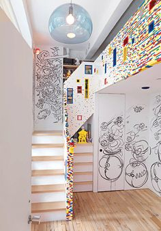 kids room made of 20,000 lego pieces