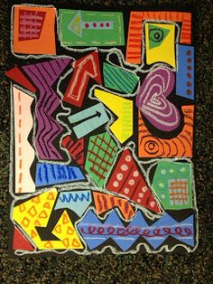 Shape, color, line, pattern. Non objective art based on Reggie Laurent: glue colored organic and geometric shapes onto black  background, add lines, shapes and patterns with oil pastel, finish with one long continuous white line to unify it.