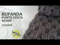 Tutorial Bufanda Crochet Punto Cesta - YouTube