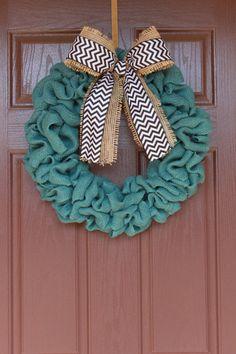 Natural Burlap Chevron Wreath @Cindy Godin can you help me make this?