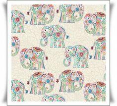 Tela con elefantes paisley