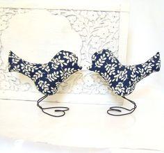 Wedding Cake Topper Love Birds, Rustic Navy Blue, Cream Leaves,