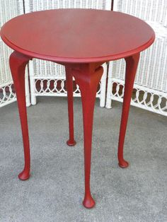 Painted Furniture Round Side Table Annie Sloan Chalk Paint with Dark Wax