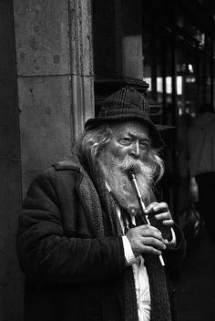 ♫♪ MUSIC ♪♫ man  Busking in Dublin. b/w by nikon fan1