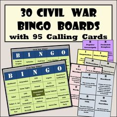 Included in this activity are 30 individualized Bingo boards and 95 detailed calling cards that give the letter, the name, date, or place of something in regard to the Civil War as well as a brief description about what the phrase is or a clue to lead their memories to the correct answer. Fun way to do a test review about the American Civil War!