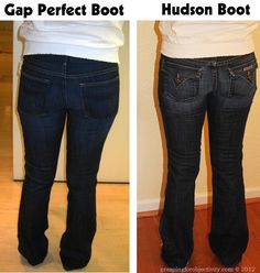 This just changed my life!! Gap Boot Vs Hudson Boot- Same girl, same day, showing about 30 different pairs of jeans to help illustrate the importance of a good cut/fit/style. What to look for in pocket placement, flare, waist, etc. to best compliment your body.
