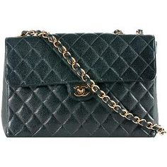 Great prices on used authentic luxury bags... Chanel Classic Quilted Caviar 2.55 Maxi Flap Shoulder Bag
