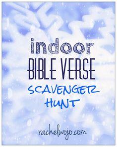 indoor Bible verse scavenger hunt
