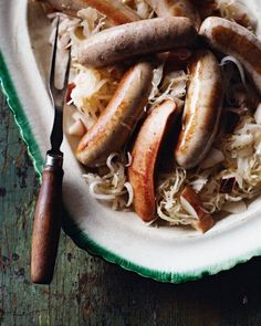 Celebrate Oktoberfest with this German Sausages with Apples, Sauerkraut, and Onion Recipe