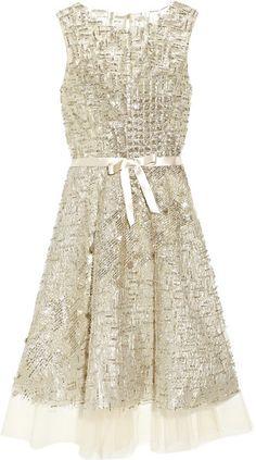 OSCAR DE LA RENTA   ROMAN HOLIDAY Embellished Tulle Dress