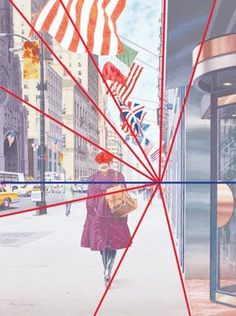 One point perspective is the simplest form of linear perspective. The blue line indicates the horizon line. The red lines show how all the diagonals radiate from a single vanishing point.