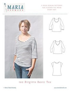 This Birgitte Basic Tee pattern is for a fitted t-shirt with either v-neck or deep round neck and with 3 choices of sleeves: practical short...