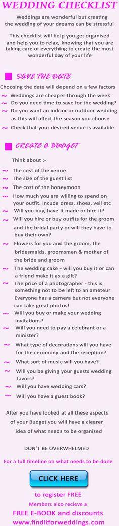 Wedding Checklist to help you get organized!