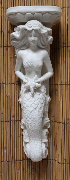 White Mermaid Wall Sconce from California Seashell Company