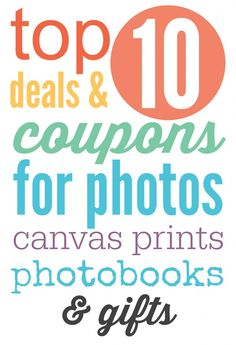 Top 10 deals and coupons for photos, photo gifts, books and more! List is updated each week so you always have the most up to date deals and coupons.