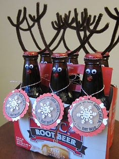 christmas gift ideas, teacher gifts, christmas crafts, beer crafts, christmas presents, nest, gift tags, root beer, christmas gifts