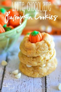 White Chocolate Pumpkin Cookies from www.kitchenmeetsgirl.com - using pudding mix makes these cookies so soft and fluffy you won't be able to stop eating them! #recipes #cookies
